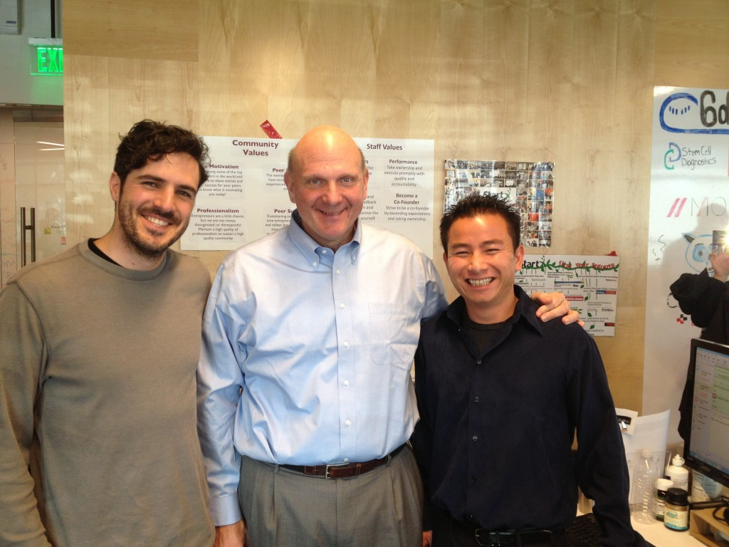 Steve Ballmer, CEO of Microsoft, with Hai Nguyen and Pablo Diaz at Appfluence