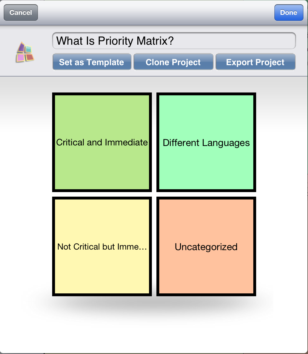 ipad grid template - manage projects with priority matrix for ipad app