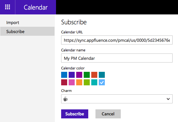 Subscribing to a PM calendar using Outlook.com